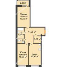 2 комнатная квартира 76,1 м² в ЖК Заречье, дом № 6 - планировка