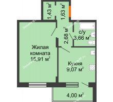 1 комнатная квартира 36,38 м², ЖК Розмарин - планировка