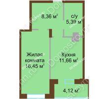 1 комнатная квартира 45,98 м² в ЖК Солнечный город, дом на участке № 208 - планировка
