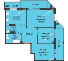 3 комнатная квартира 84,1 м² - ЖК на ул. Греческого Города Волос, 82