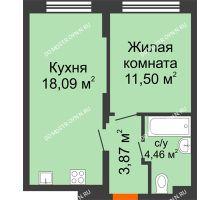 1 комнатная квартира 37,92 м² в ЖК КМ Анкудиновский парк, дом № 20 - планировка