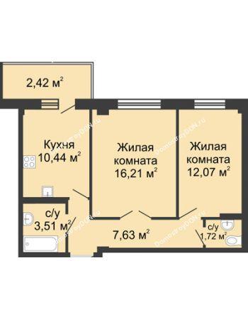 2 комнатная квартира 54,2 м² в ЖК Соловьиная роща, дом № 1
