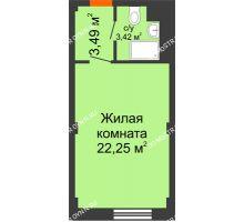 Студия 29,16 м², Апарт-Отель Гордеевка - планировка