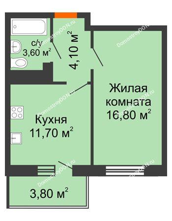 1 комнатная квартира 38,3 м² в ЖК Я, дом  Литер 2