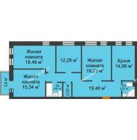 3 комнатная квартира 109,62 м² в ЖК Новоостровский, дом № 2 корпус 1 - планировка