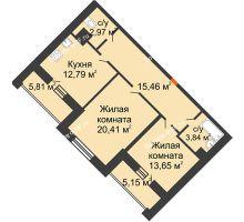 2 комнатная квартира 74,59 м², ЖД Эльбрус - планировка