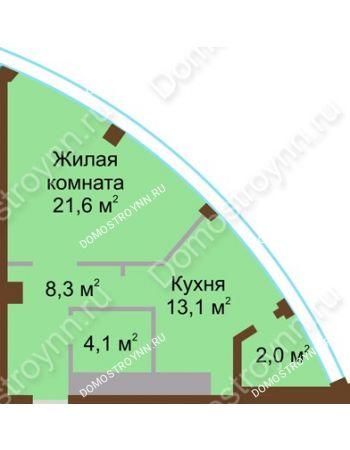 1 комнатная квартира 49,1 м² в ЖК Монолит, дом № 89, корп. 1, 2