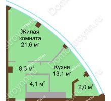 1 комнатная квартира 49,1 м² в ЖК Монолит, дом № 89, корп. 1, 2 - планировка