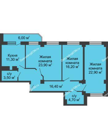 3 комнатная квартира 102,1 м² - ЖК Крылья Ростова