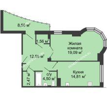 1 комнатная квартира 59,27 м² - ЖК Сергиевская Слобода