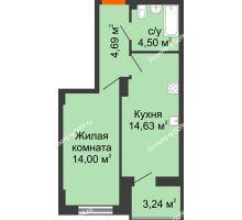 1 комнатная квартира 39,46 м² в ЖК Аврора, дом № 3 - планировка