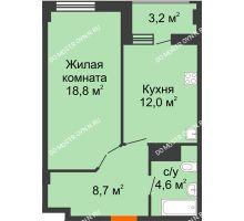 1 комнатная квартира 45,7 м² в ЖК Квартет, дом № 3 - планировка