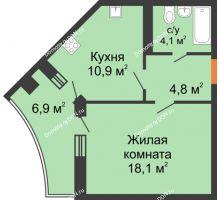 1 комнатная квартира 41,4 м² в ЖК Вересаево, дом Литер 6/2 - планировка