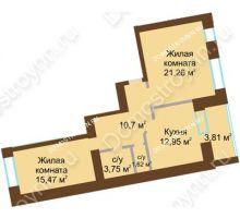 2 комнатная квартира 67,655 м² в ЖК Солнечный город, дом на участке № 214