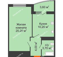 1 комнатная квартира 39,9 м² в ЖК Fresh (ЖК Фреш), дом Литер 2 - планировка
