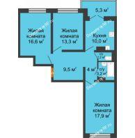 3 комнатная квартира 77,2 м² в ЖК Лазурный, дом 30 позиция - планировка