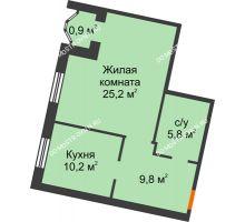 1 комнатная квартира 51,9 м², Жилой дом: ул. Варварская - планировка