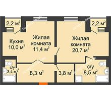 2 комнатная квартира 68,3 м² в ЖК Жюль Верн, дом № 1 корпус 2 - планировка