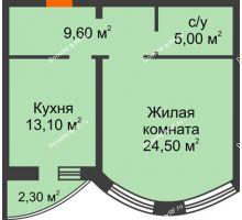 1 комнатная квартира 52,2 м², ЖК по ул. Циолковского - планировка