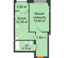 1 комнатная квартира 44,1 м², ЖК Гагарин - планировка