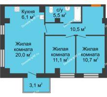 3 комнатная квартира 64,8 м² в ЖК Времена года, дом № 1 - планировка