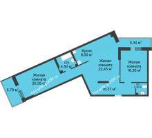 3 комнатная квартира 99,5 м², ЖК Главный - планировка