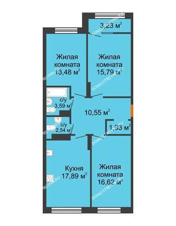 3 комнатная квартира 84,01 м² в ЖК Маленькая страна, дом № 4