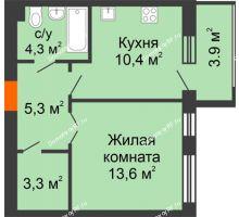 1 комнатная квартира 40,8 м² в ЖК Славутич, дом ГП-1 - планировка