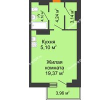Студия 37,14 м² в ЖК Сокол на Оганова, дом Литер 6 - планировка