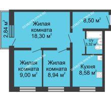 3 комнатная квартира 56,5 м² в ЖК Корабли, дом № 6 - планировка