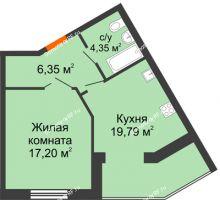 1 комнатная квартира 47,69 м² в ЖК Бунина парк, дом 3 этап, блок-секция 3 С - планировка
