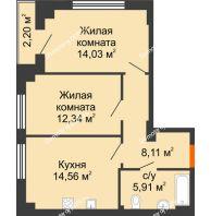 2 комнатная квартира 56,05 м² в ЖК Аврора, дом № 3 - планировка