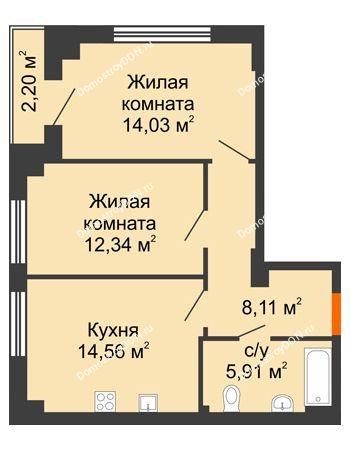 2 комнатная квартира 56,05 м² в ЖК Аврора, дом № 3