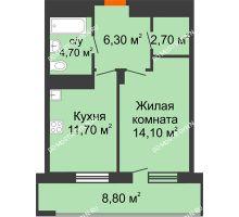 1 комнатная квартира 43,9 м², ЖК Корица - планировка