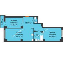 3 комнатная квартира 87,3 м², ЖК Гагарин - планировка