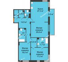 3 комнатная квартира 125,3 м² в Клубный дом Лобачевский, дом № 1 - планировка