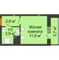 Студия 22,4 м², ЖК Космолет - планировка