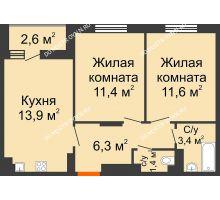 2 комнатная квартира 49,3 м² в ЖК Новая Кузнечиха, дом № 31 - планировка