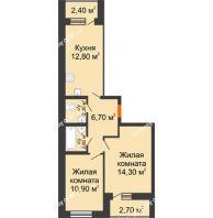 2 комнатная квартира 54,7 м² в ЖК Куйбышев, дом № 15 - планировка