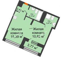 1 комнатная квартира 38,17 м² в ЖК Речной порт, дом № 6 - планировка