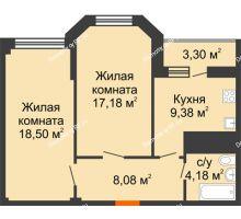 2 комнатная квартира 57,32 м² в ЖК Солнечный, дом № 2 - планировка