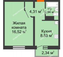 1 комнатная квартира 32,35 м² в ЖК Бурнаковский, дом № 48 - планировка