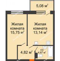 2 комнатная квартира 46,38 м² в ЖК Гвардейский 3.0, дом Секция 2 - планировка