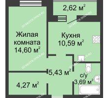 1 комнатная квартира 39,89 м² в ЖК Парк Горького, дом 62/3, № 5 - планировка