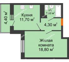 1 комнатная квартира 40,7 м² в ЖК Я, дом  Литер 2 - планировка