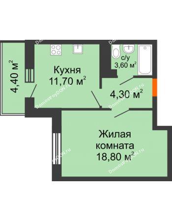1 комнатная квартира 40,7 м² в ЖК Я, дом  Литер 2