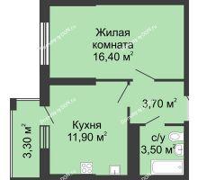 1 комнатная квартира 36,7 м², ЖК Сказка - планировка