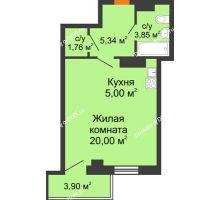 Студия 37,12 м² в ЖК Сокол на Оганова, дом Литер 6 - планировка