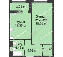 1 комнатная квартира 45,05 м² в ЖК Караваиха, дом № 5 - планировка