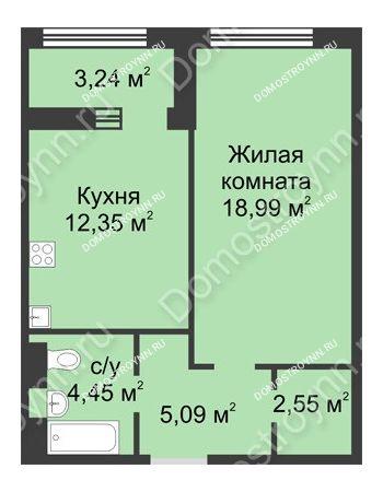 1 комнатная квартира 45,05 м² в ЖК Караваиха, дом № 5